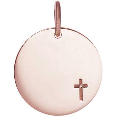 Médaille Petite Croix personnalisable 15 mm (or rose 750°)  par Je t'Ador