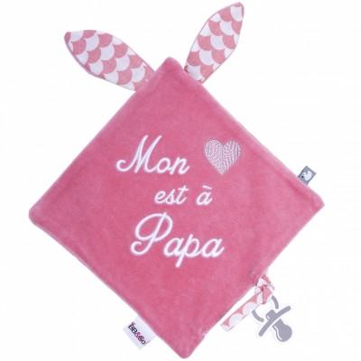 Doudou plat attache sucette Mon coeur est à papa BB & Co