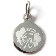 Médaille Ange pensif fille (argent rhodié 925°)