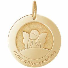Médaille de naissance Ange Gardien personnalisable 18 mm (or jaune 750°)