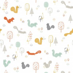 Papier peint squirrels wood Woodland by Lizzie Mackay