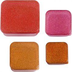 Lot de 4 boîtes à goûter à paillettes Autumn pink