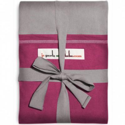 Echarpe de portage L'Originale gris clair poche fuchsia  par Je Porte Mon Bébé