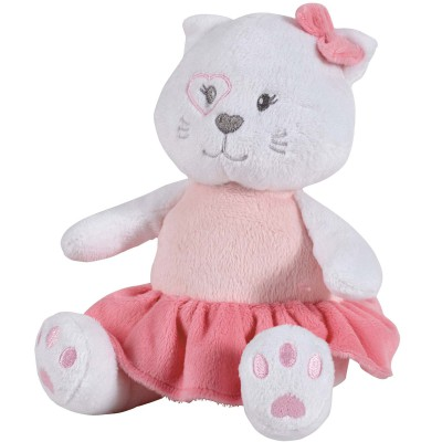Peluche musicale Mademoiselle chat rose (25 cm) Candide