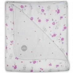 Grande couverture en mousseline de Blooming fleurs roses (120 x 120 cm)