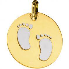 Médaille Pieds bébé personnalisable (acier et or jaune 750°)
