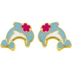 Boucles d'oreilles Petit dauphin et fleur rose (or jaune 750°)