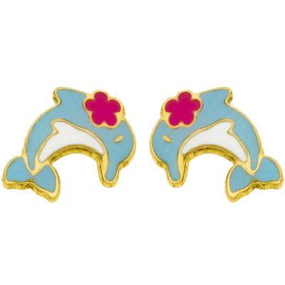 Boucles d'oreilles Petit dauphin et fleur rose (or jaune 750°)  par Berceau magique bijoux