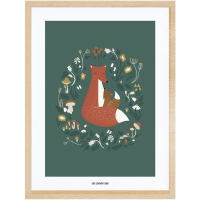 Affiche encadrée renard Forest Happiness (30 x 40 cm)