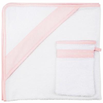 Cape de bain et gant de toilette Pink Bows  (90 x 90 cm)  par Les Rêves d'Anaïs