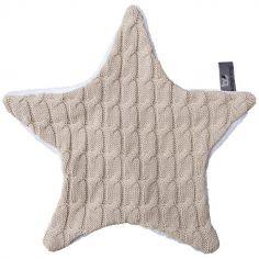 Doudou plat étoile Cable Uni beige (30 x 30 cm)
