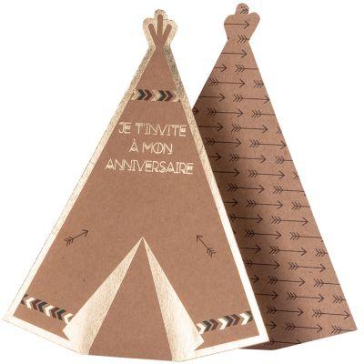Lot de 8 cartes d'invitation tipi Indian Forest  par Arty Fêtes Factory