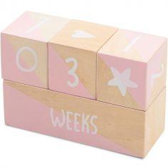 Cubes en bois Milestone étapes de bébé blanc et rose