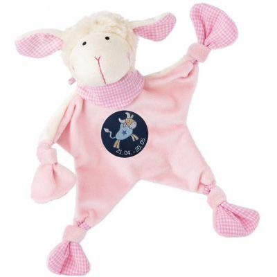 Doudou plat mouton signe taureau rose (19 cm) Sigikid