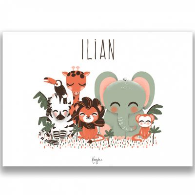 Affiche A3 Les Animignons de la jungle (personnalisable)  par Kanzilue