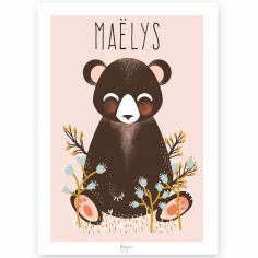 Affiche A4 Les Animignons l'ours rose (personnalisable)