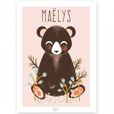 Affiche A4 Les Animignons l'ours rose (personnalisable)  par Kanzilue