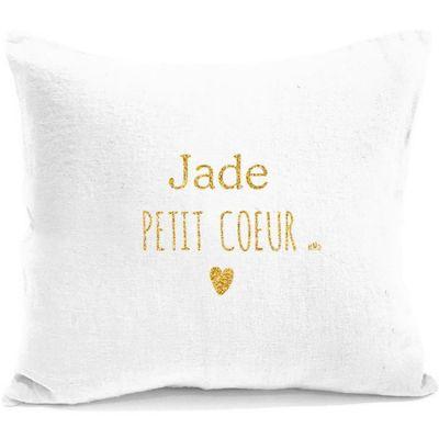Coussin carré en lin Petit Cœur blanc et or (personnalisable)  par Mes Mots Déco