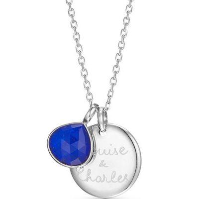 Collier pierre fine personnalisable (argent 925°) Merci Maman