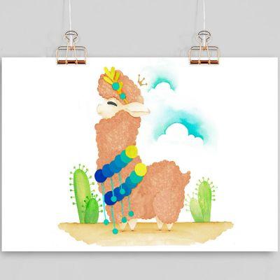 Affiche A4 Lama marron (personnalisable)  par Gaëlle Duval