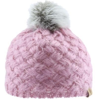 Bonnet en tricot à pompon rose (6-12 mois)