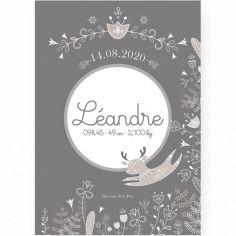 Affiche de naissance A2 Petit renne gris (personnalisable)