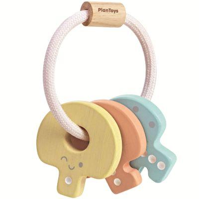 Hochet en bois clés pastel Plan Toys