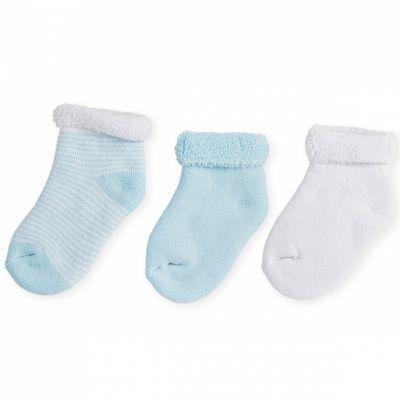 Lot de 3 paires de chaussettes bleu et blanc (0-3 mois)  par Trois Kilos Sept