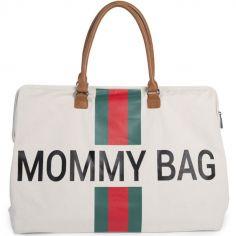 Sac à langer à anses Mommy bag vert, rouge et écru