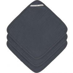Lot de 3 débarbouillettes en mousseline de coton bleu marine (30 x 30 cm)