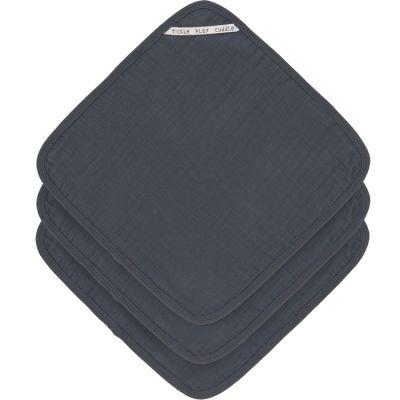 Lot de 3 débarbouillettes en mousseline de coton bleu marine (30 x 30 cm)  par Lässig