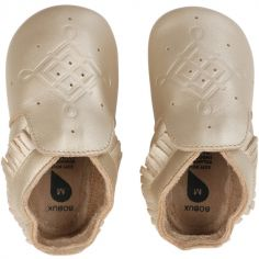 Chaussons bébé en cuir Soft soles frange dorés (9-15 mois)