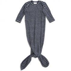 Body combinaison à nouer en maille navy stripe (78 cm)