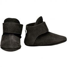 Chaussons en cuir noirs (0-6 mois)
