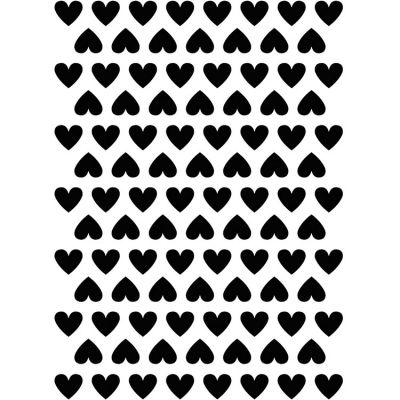 Planche de stickers coeurs noirs (18 x 24 cm)