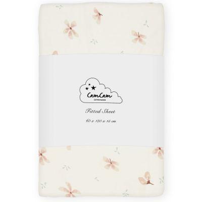 Drap housse en coton bio Windflower Creme (60 x 120 cm)  par Cam Cam Copenhagen