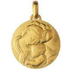 Médaille Madone du Caravage 18 mm (or jaune 750°)