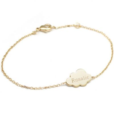 Bracelet chaîne nuage personnalisable (plaqué or jaune)  par Petits trésors