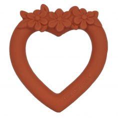 Anneau de dentition en caoutchouc Coeur terracotta