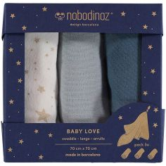 Lot de 3 langes Baby Love Night blue (70 x 70 cm)