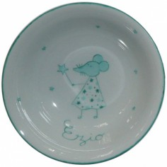 Coupelle en porcelaine souris verte personnalisable