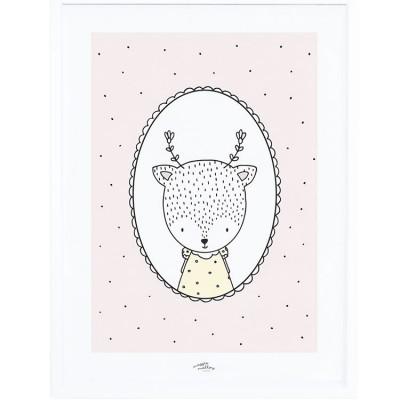 Affiche encadrée Margaret la biche (30 x 40 cm)  par Lilipinso