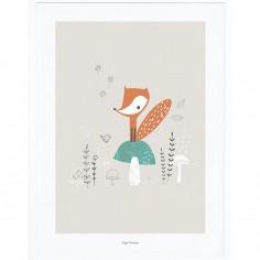 Affiche encadrée renard et champignons des bois (30 x 40 cm)