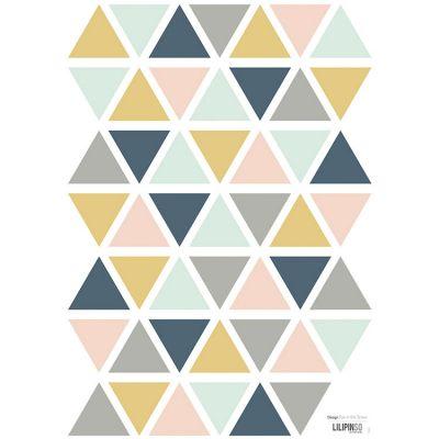 Planche de stickers triangle moutarde, gris et rose clair (A3)  par Lilipinso