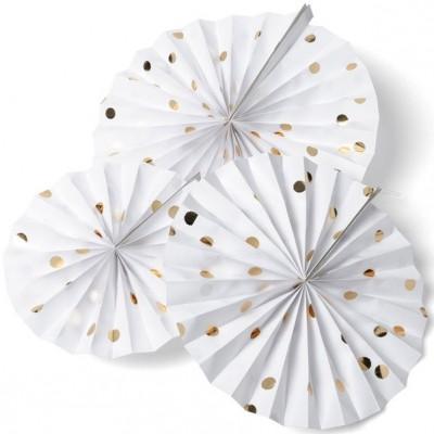 Rosaces blanches pois dorés (3 pièces)