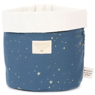 Panier de toilette en tissu Panda Gold stella Night blue (20 x 24 cm)  par Nobodinoz