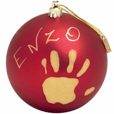 Boule de Noël décorative rouge avec kit empreinte
