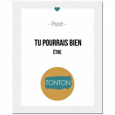 Carte à gratter Annonce de grossesse Version Encadrée Tonton (8 x 10 cm)