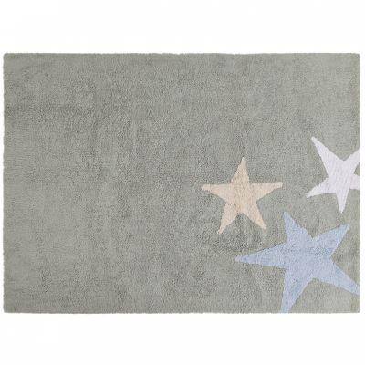 Tapis lavable Trois étoiles gris et bleu (120 x 160 cm)  par Lorena Canals