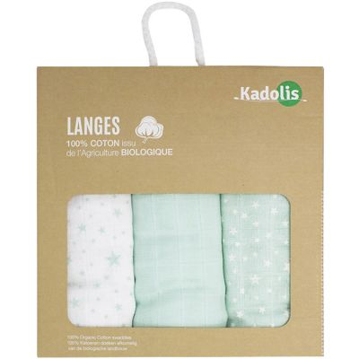 Lot de 3 langes en coton bio Étoile vert d'eau (60 x 60 cm)  par Kadolis